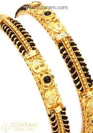 black gold bangle bracelet images 22k fine gold bangles with black beads set of 2 1 pair 235 jpg
