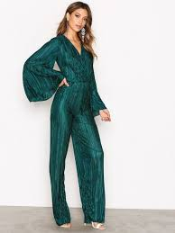 green jumpsuit pleated kimono jumpsuit nly trend green jumpsuits
