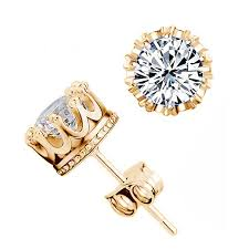 gold diamond stud earrings gold princess crown diamond stud earrings hippie runner