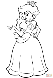 mario bros princess peach coloring free printable coloring