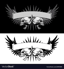 skull wings with style graphic vector image