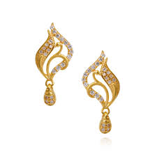 gold ear ring image oriana beautiful fancy peacock earring with hanging drops grt