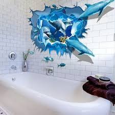 online get cheap ocean wall decals aliexpress com alibaba group newest wall stickers removable dolphin 3d sea ocean stickers wall decal mural diy decor kid room