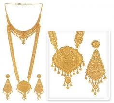 gold har set gold rani haar ajns51089 gold rani haar necklace and earrings