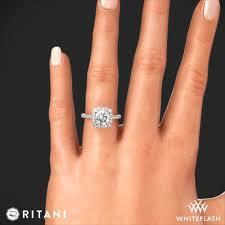 cushion ring ritani set cushion halo diamond band engagement ring 3378