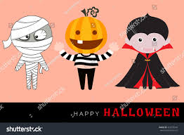 vector halloween characters including mummy funny stock vector
