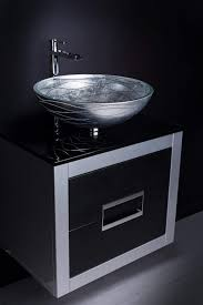 inch leather front bathroom vanity and sink combo black and silver
