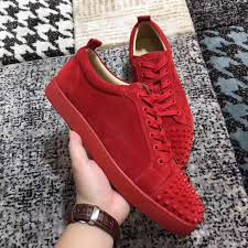fashion red bottom sneakers shoes women men spikes toe suede