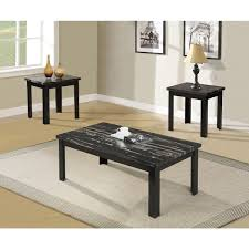 blythe 3 piece coffee end table set in faux marble u0026 black 80855