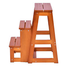 goplus wood step stool folding 3 tier ladder chair bench seat