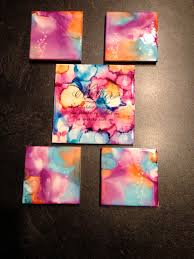 tile coasters using sharpie markers and alcohol inks diy craft