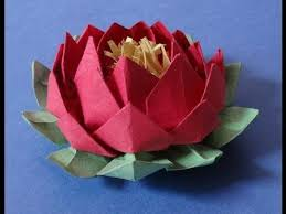 Lotus Blossom Origami - how to make an easy origami 20 petal lotus flower with stamen