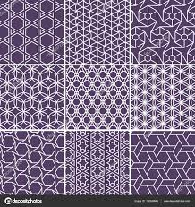 arabic seamless patterns set from simple geometric shapes islam