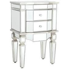 mirrored accent table round end with drawers 2 drawer nightstand
