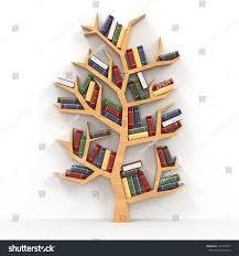 tree knowledge bookshelf on white background stock illustration
