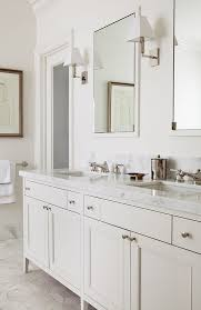Cream Bathroom Vanity With White Marble Top Transitional Bathroom - Bathroom vanities with marble tops