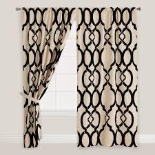 black trellis ethel flocked chambray curtains set of 2 tab top