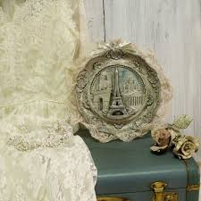 vintage paris eiffel tower souvenir carved plate distressed