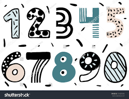 set doodle numbers funny numbers children stock vector 724201006