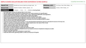 awesome resume casino dealer images simple resume office