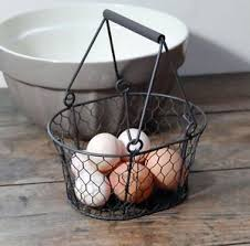 egg baskets small traditional brown vintage style metal wire egg basket