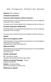 Resume Sample For Computer Technician by Resume Web Integrator Samples Resumedoc