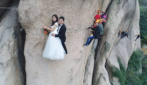 how about getting married on a zip wire hanging the side of a