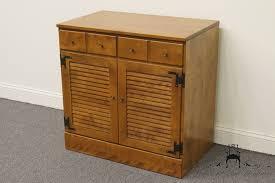 Shutter Door Cabinet High End Used Furniture Ethan Allen Heirloom Nutmeg Maple 30