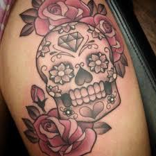 sugar skull thigh by rock ali on deviantart