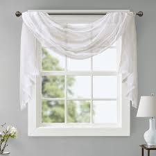 sheer window treatments charlton home sylvan solid sheer window scarf reviews wayfair