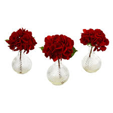 Artificial Flower Arrangements Rose Bush Silk Flower Arrangement With Vase Red Walmart Com