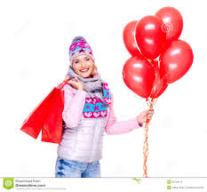 new year shopping smiling woman with gifts and balloons after shopping stock
