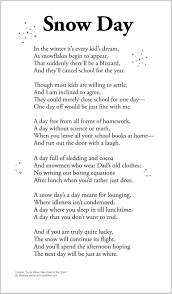 cute children u0027s poem about snow games during a snow day off from