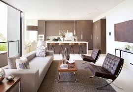 Family Room Furniture And Interior In Modern House With Deck And - Modern living room furniture san francisco