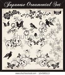 vector set traditional japanese ornaments stock vector