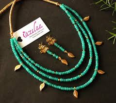 gold green necklace images Designer layered teal green gold plated gemstone beaded necklace jpg