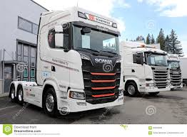 scania trucks new white scania trucks on asphalt yard editorial stock image