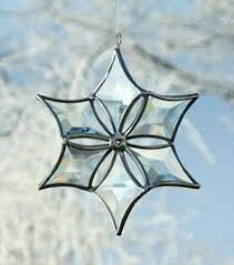 stained glass snowflake with bevels flakey