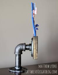 industrial wood pipe toothbrush holder