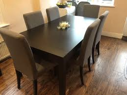 Ikea Solid Pine Brown Black Dining Table And 6 Grey Chairs Keen To
