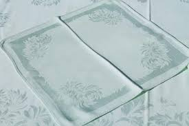 mint green spring table linens vintage damask tablecloth