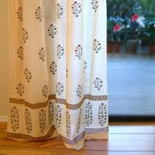 Saffron Curtains Poppy Indian Flower Print Curtain Panel