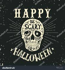 hand drawn happy halloween lettering skull stock vector 315206888