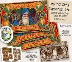 christmas cookies gingerbread santa labels digital download