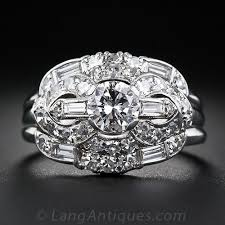 platinum and diamond art deco wedding set ring