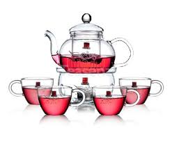 tea set teapot warmer set glass tea set with 4 small tea cups yiwuyao