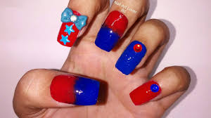 red u0026 blue ombre nail art youtube