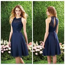 compare prices on navy lace knee length bridesmaid dresses online