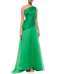 Draped Bodice Dress Ml Monique Lhuillier One Shoulder Draped Bodice Gown In Green Lyst