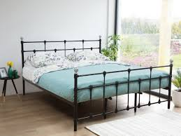metal bed king size bed frame 160x200 cm black lynx